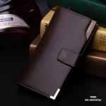 กระเป๋าสตางค์ผู้ชาย ทรงยาว JI&XIA Button Metal Brown - สีน้ำตาล