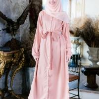 ชุดเดรสมุสลิมคอจีนสีพื้นสวยหวาน