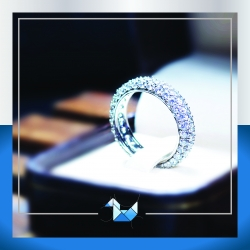 แหวนเงินแท้ เพชรสังเคราะห์ ชุบทองคำขาว รุ่น RG1548 Grand Eternity Elegran