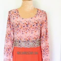 ชุดเดรสเด็กหญิงมุสลิมมะฮฺ ราคาพิเศษ !!! เดรสยาวสีส้มสวยลายดอกไม้