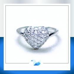 แหวนเงินแท้ เพชรสังเคราะห์ ชุบทองคำขาว รุ่น RG1601 Heart