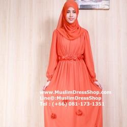 ชุดเดรสมุสลิมแฟชั่นพร้อมผ้าพัน ชุดเดรสชีฟองแต่งกุหลาบ ID : RosBB 01 สีส้มเข้ม
