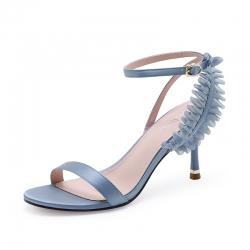 SH_1696 (pre-order) รองเท้าทำงาน-รองเท้าออกงาน หวานๆ แบรนด์ Exull สูง 8cm, 2018, Shoes, Blue-Light GoldBeige, Size 34-39