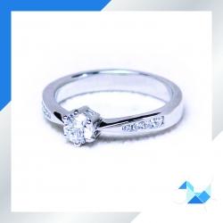 แหวนเงินแท้ เพชรสังเคราะห์ ชุบทองคำขาว รุ่น RG1503 4mm Choo