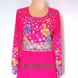 ชุดเดรสเด็กหญิงมุสลิมมะฮฺ ราคาพิเศษ !!! เดรสยาวสีชมพูบานเย็น ลายผีเสื้อ