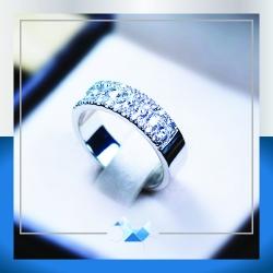 แหวนเงินแท้ เพชรสังเคราะห์ ชุบทองคำขาว รุ่น RG1539 Skyline Vintage