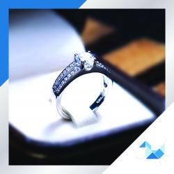 แหวนเงินแท้ เพชรสังเคราะห์ ชุบทองคำขาว รุ่น RG1502 5mm HS