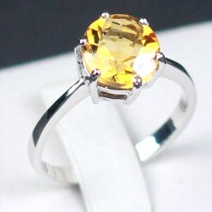 แหวนเงินแท้ พลอยแท้ ชุบทองคำขาว รุ่น RG1302Ci Two Carat Citrine