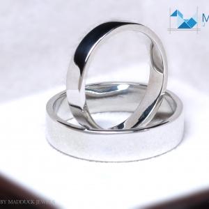 แหวนคู่รักเงินแท้ เพชรสังเคราะห์ ชุบทองคำขาว รุ่น LV14791480 Love is B&G