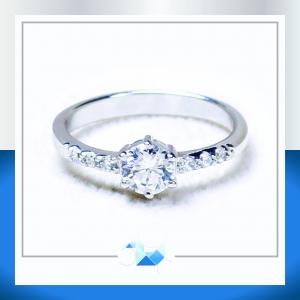 แหวนเงินแท้ เพชรสังเคราะห์ ชุบทองคำขาว รุ่น RG1530 I Do