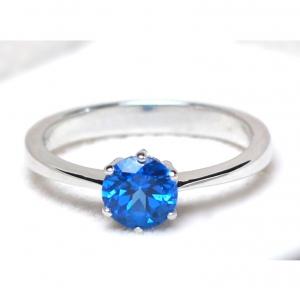 แหวนเงินแท้ พลอยแท้ ชุบทองคำขาว รุ่น RG1505bt Blue Topaz