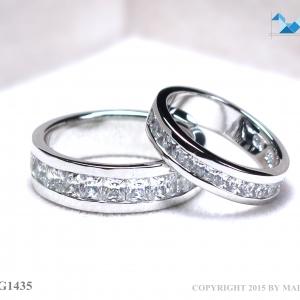 แหวนคู่รักเงินแท้ เพชรสังเคราะห์ ชุบทองคำขาว รุ่น LV14341435 Grand Eternity Half B&G