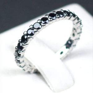 แหวนเงินแท้ พลอยแท้ ชุบทองคำขาว รุ่น RG1428bs Eternity Black Spinel