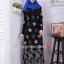 ชุดเดรสมุสลิมแฟชั่นพร้อมผ้าพันแสนสวย Metallic A-Line Dresses BLUE