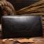 กระเป๋าสตางค์ผู้ชาย หนังแท้ ทรงยาว Wallet Long Leather Zipper - สีดำ