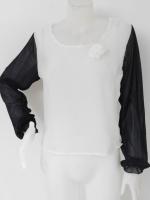 851004 ขายส่งเสื้อผ้าแฟชั่น ผ้าชีฟองแขนยาวขาวดำ รอบอก 34 นิ้ว ยาว 22 นิ้ว