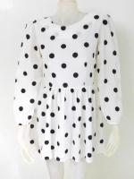 1101001 ขายส่งเสื้อผ้าแฟชั่นเสื้อแขนยาว ลายจุดขาวดำ สวยดูดีค่ะ 34นิ้ว