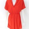 1002211 ขายส่งเสื้อผ้าแฟชั่นเดรสกระโปรง ผ้ายืดเนื้อนิ่มค่ะ สม๊อกเอวยืดได้ค่ะ รอบอก 38-40 นิ้วยาว 37 นิ้ว (สีแดง)
