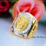 แหวนมังกรล้อมเพชรcz หุ้มทองคำแท้