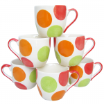 แก้วกาแฟ(เซรามิค) ลายกลมสี เขียว-แดง-ส้ม(6ใบ)