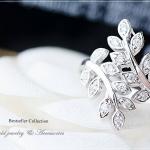 แหวนใบมะกอกประดับเพชร CZ หุ้มทองคำขาวแท้
