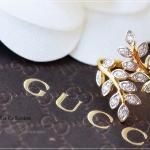 แหวนใบมะกอกประดับเพชร CZ หุ้มทองคำแท้