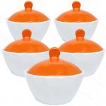 ชุดถ้วยมีฝาปิด(เซรามิก) กว้าง4นิ้ว สีส้ม(5ใบ)
