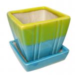 กระถางเหลี่ยม(เซรามิก) 2.5นิ้ว ลายน้ำไหล(คละสี)