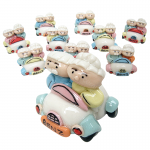 ตุ๊กตาปั้นแฮนด์เมด(เซรามิค) ตา-ยายชับรถเบนซ์(10ชิ้น)