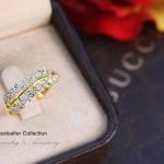 แหวนใบมะกอกประดับเพชร CZ (หุ้มทองคำแท้)
