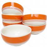ถ้วย กว้าง3.25นิ้ว(เซรามิค) ถ้วยน้ำพริก ถ้วยน้ำจิ้ม ลายเส้น สีส้ม(6ใบ)