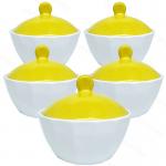 ชุดถ้วยมีฝาปิด(เซรามิก) กว้าง4นิ้ว สีเหลือง(5ใบ)