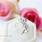 แหวนหุ้มทองคำขาวแท้คิตตี้ ประดับเพชร CZ