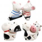 กระปุกที่ใส่พริกไทย-เกลือ(เซรามิค) หมา-วัว-หนูกอดกัน(3คู่)