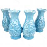 แจกัน(เซรามิค)สีสดใส สูง6นิ้ว ลายนูนดอกลีลาวดี สีฟ้า(2คู่)