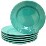 ชุดจาน(เซรามิค) กว้าง8นิ้ว สีทูโทน เขียว(6ใบ)