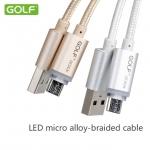 สายชาร์จ GOLF LED Micro USB แบบถักอย่างดี สำหรับมือถือสมาร์ทโฟนทั่วไป
