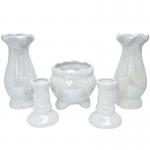 ชุดแจกันโต๊ะหมู่บูชา(เซรามิก)(เคลือบมุกขาว)(เชิงเทียนแท่ง)