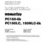 หนังสือ คู่มือซ่อม วงจรไฟฟ้า วงจรไฮดรอลิก จักรกลหนัก PC160-6K K30001 , PC180LC-6K,PC180NLC-6K K30001 (ทั้งคัน) EN