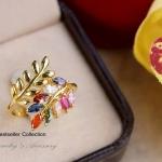 แหวนใบมะกอกพลอยนพเก้า หุ้มทองคำแท้