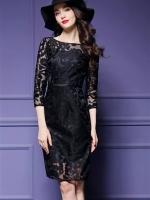 เดรสสีดำ ลุคไฮโซลายสวย ผ้าเงานิ่มใส่สบาย ซิปหลังตัวยาว ดูดีมากเลยค่ะ