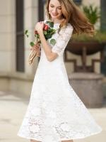 เดรสสีขาว ลูกไม้นิ่มเต้มตัว มีน้ำหนักงานสวยยๆๆ ลายดอกไม้หวานๆ ซิปซ่อนข้างลำตัว ตัวยาว งานเรียบร้อย ออกงานได้เลยจ้า