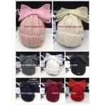 หมวกทอไหมพรมขนกระต่าย แต่งโบว์+ปอมบน ให้ความอุ่นได้ดีเยี่ยม