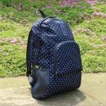 กระเป๋าเป้ พับเก็บได้ สำหรับใส่่ของเดินทางท่องเที่ยว (น้ำเงินจุดขาว)