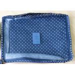 กระเป๋าจัดระเบียบกระเป๋าเดินทางชุดใหญ่ 6 ใบ (สีน้ำเงินลายจุดขาว)