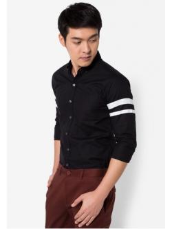 เสื้อเชิ๊ตแขนยาว ดีไซน์ริบบิ้นคาดแขน สีดำ