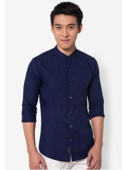เสื้อเชิ้ตคอจีนสีกรมท่า