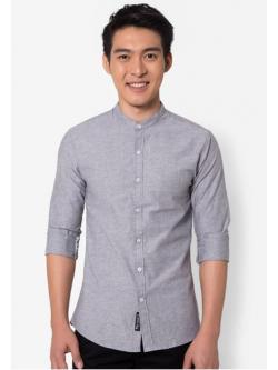 เสื้อเชิ้ตแขนยาว- Sophisticated Mandarin Collar