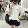 เสื้อแฟชั่นเกาหลี แขนสั้น แต่งสายห้อยคอ สีขาว