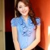 เสื้อแฟชั่นเกาหลี ผ้าชีฟอง แต่งลูกไม้ แต่งไข่มุกที่คอเสื้อ สีฟ้า